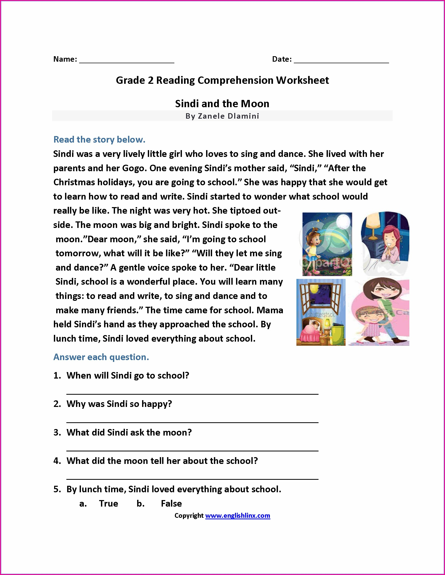2nd Grade Reading Comprehension Worksheet