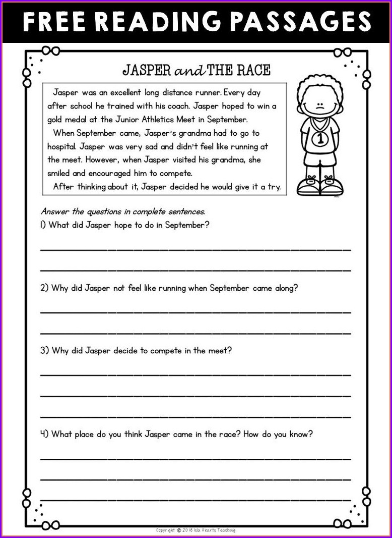 2nd Grade Reading Comprehension Worksheets To Print