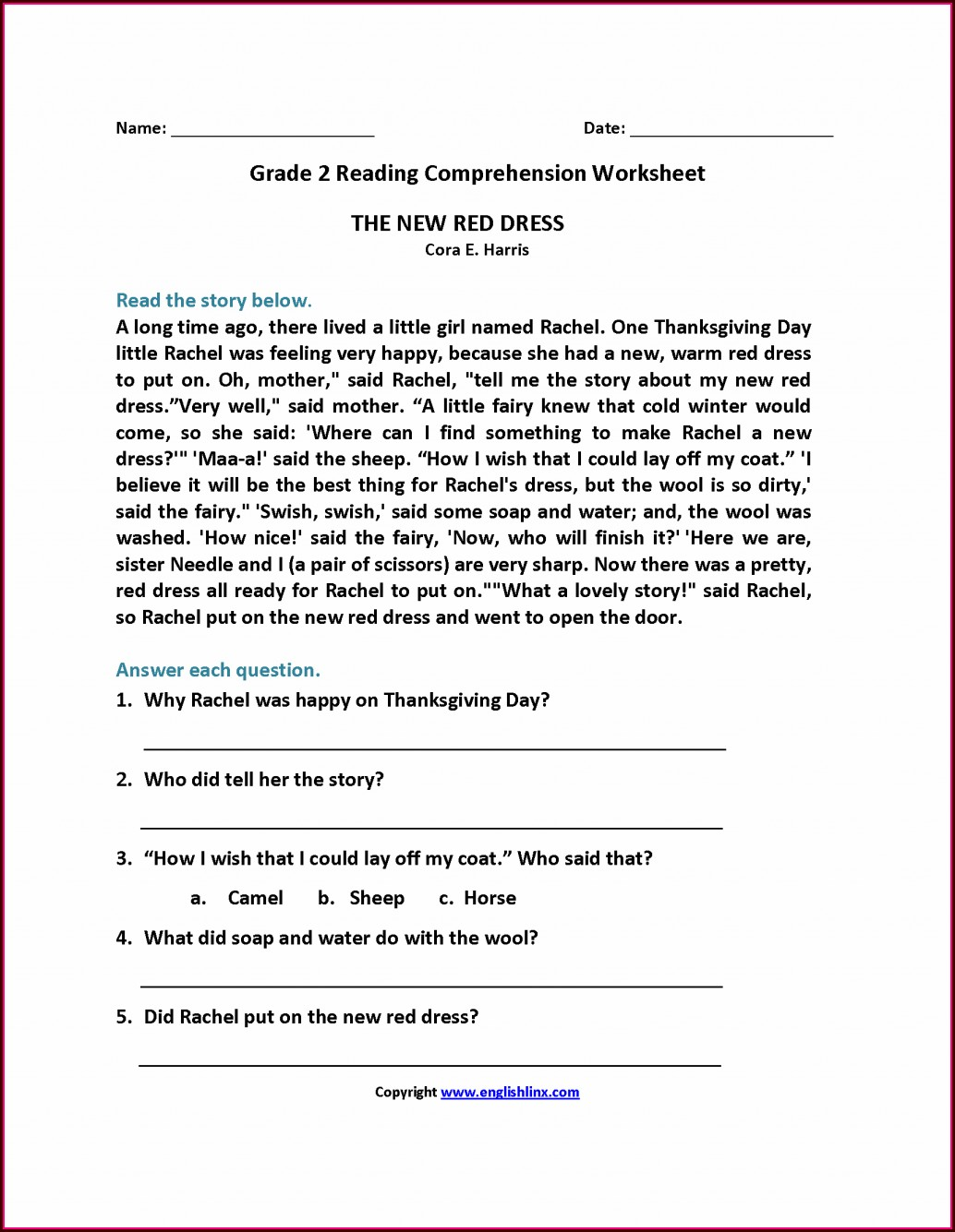 2nd Grade Reading Worksheet With Questions