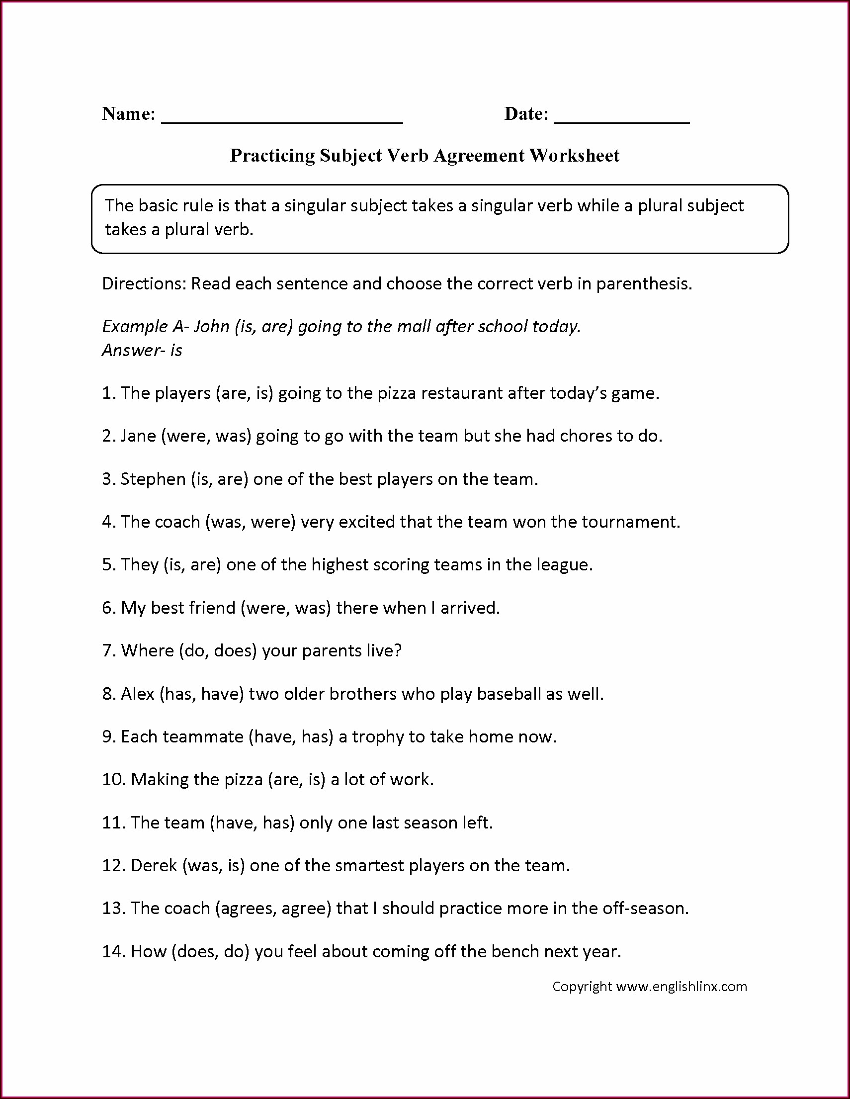 2nd Grade Subject Verb Agreement Worksheet