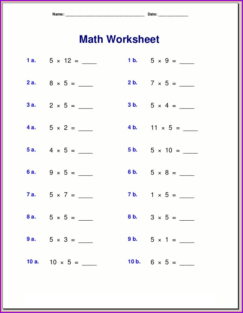 2nd Grade Times Tables Worksheets