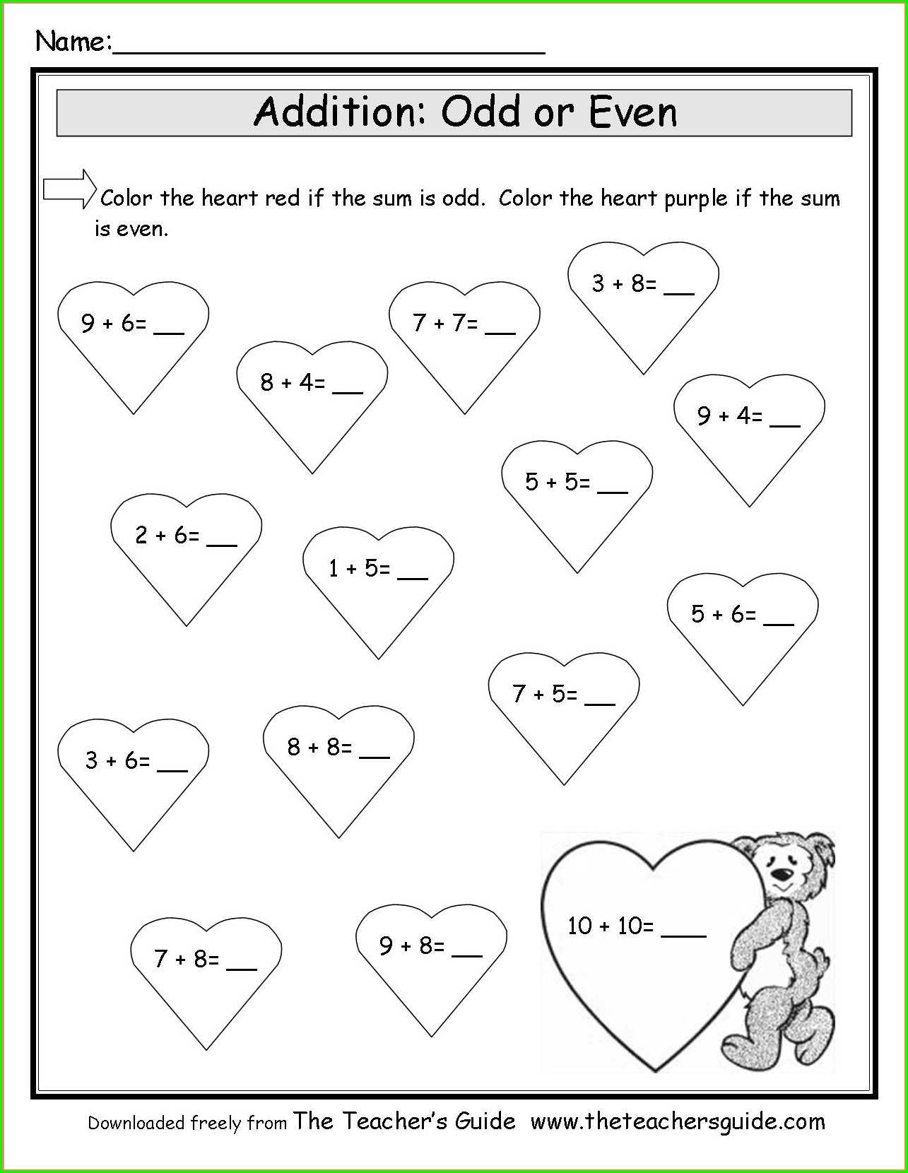 2nd Grade Valentine's Day Math Coloring Worksheets