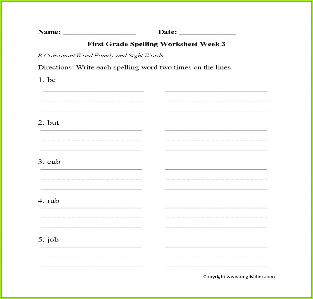 3 Times Each Spelling Worksheet