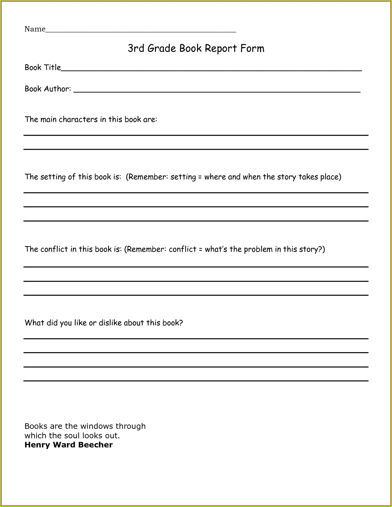 3rd Grade Book Review Worksheet