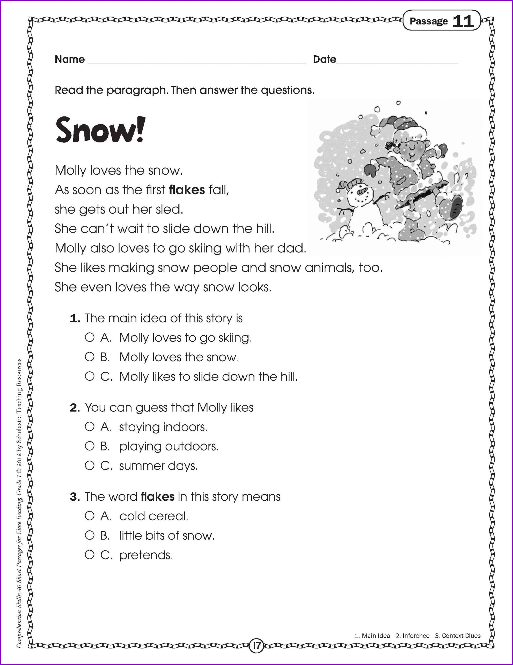 3rd Grade Christmas Worksheets Pdf