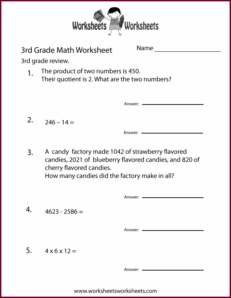 3rd Grade Math Worksheet Word Problems