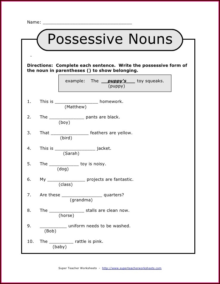 3rd Grade Singular Possessive Nouns Worksheets