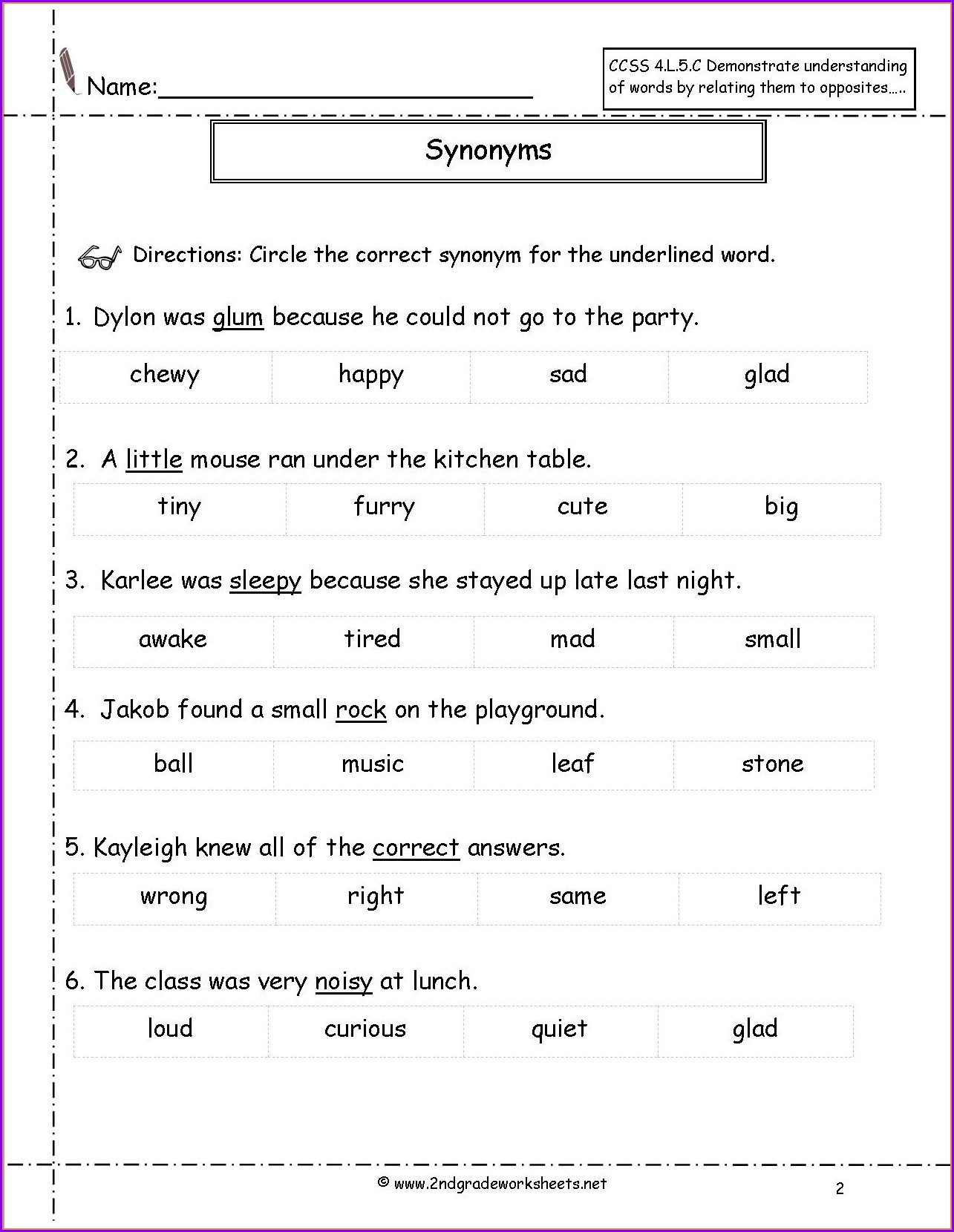 Second Grade Synonyms And Antonyms Worksheet Grade 2 ...