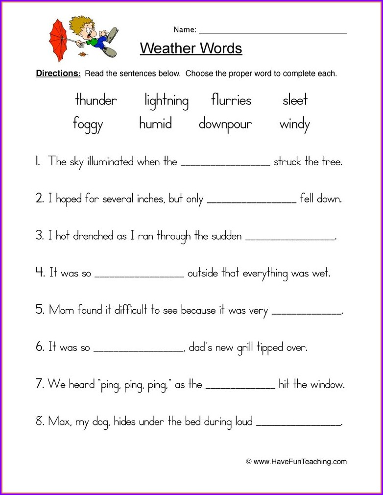 3rd Grade Weather And Climate Worksheets