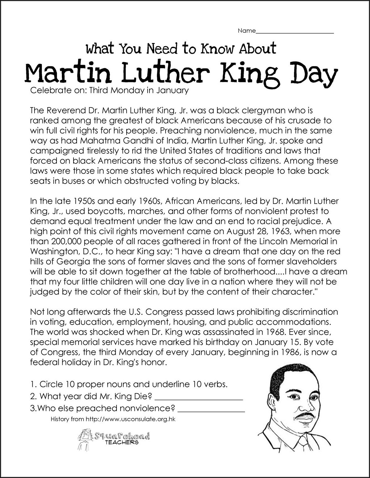 4th Grade Martin Luther King Jr Day Worksheets