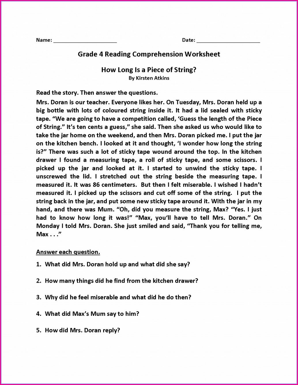 4th Grade Reading Comprehension Worksheet