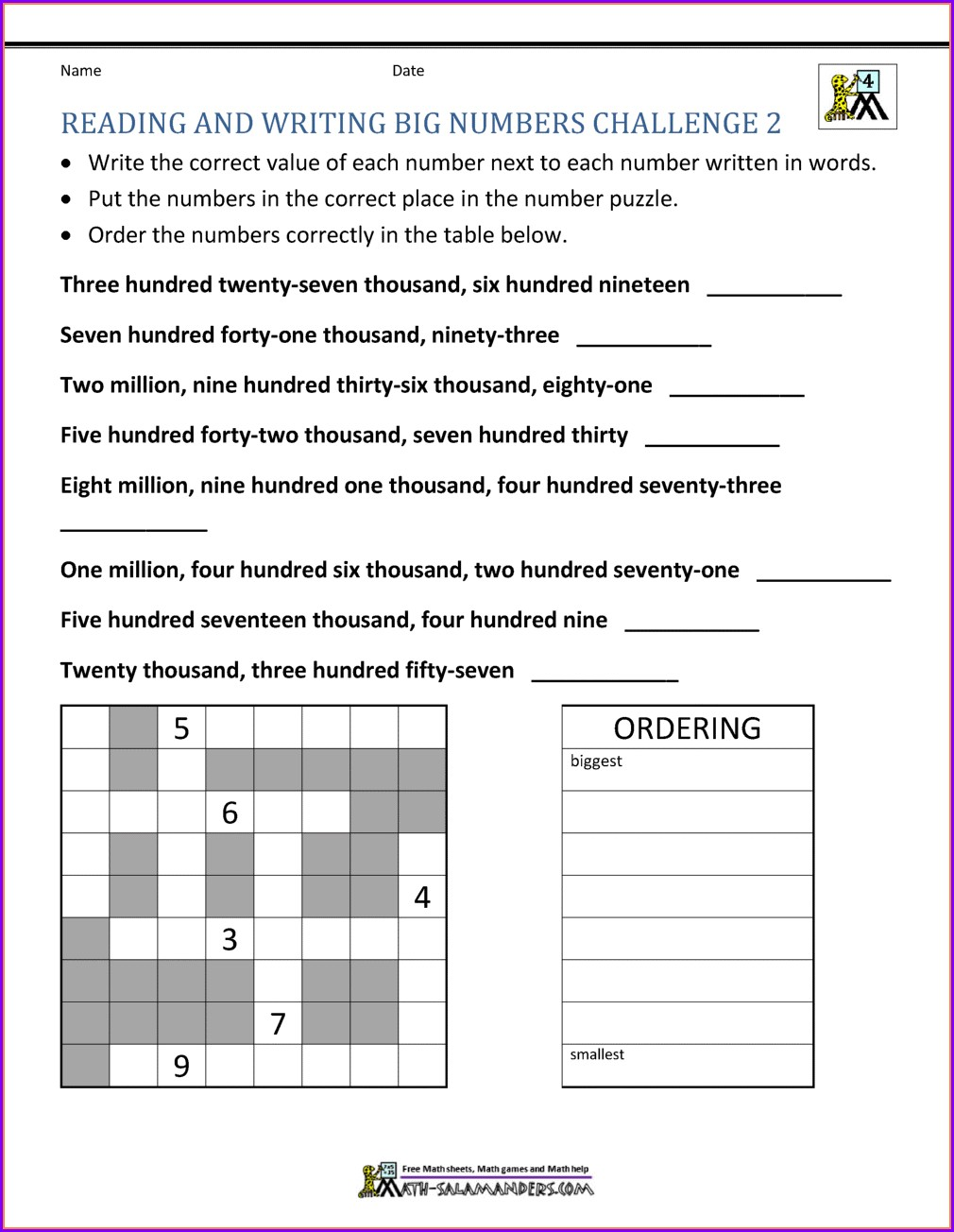 4th Grade Rounding Off Numbers Worksheet