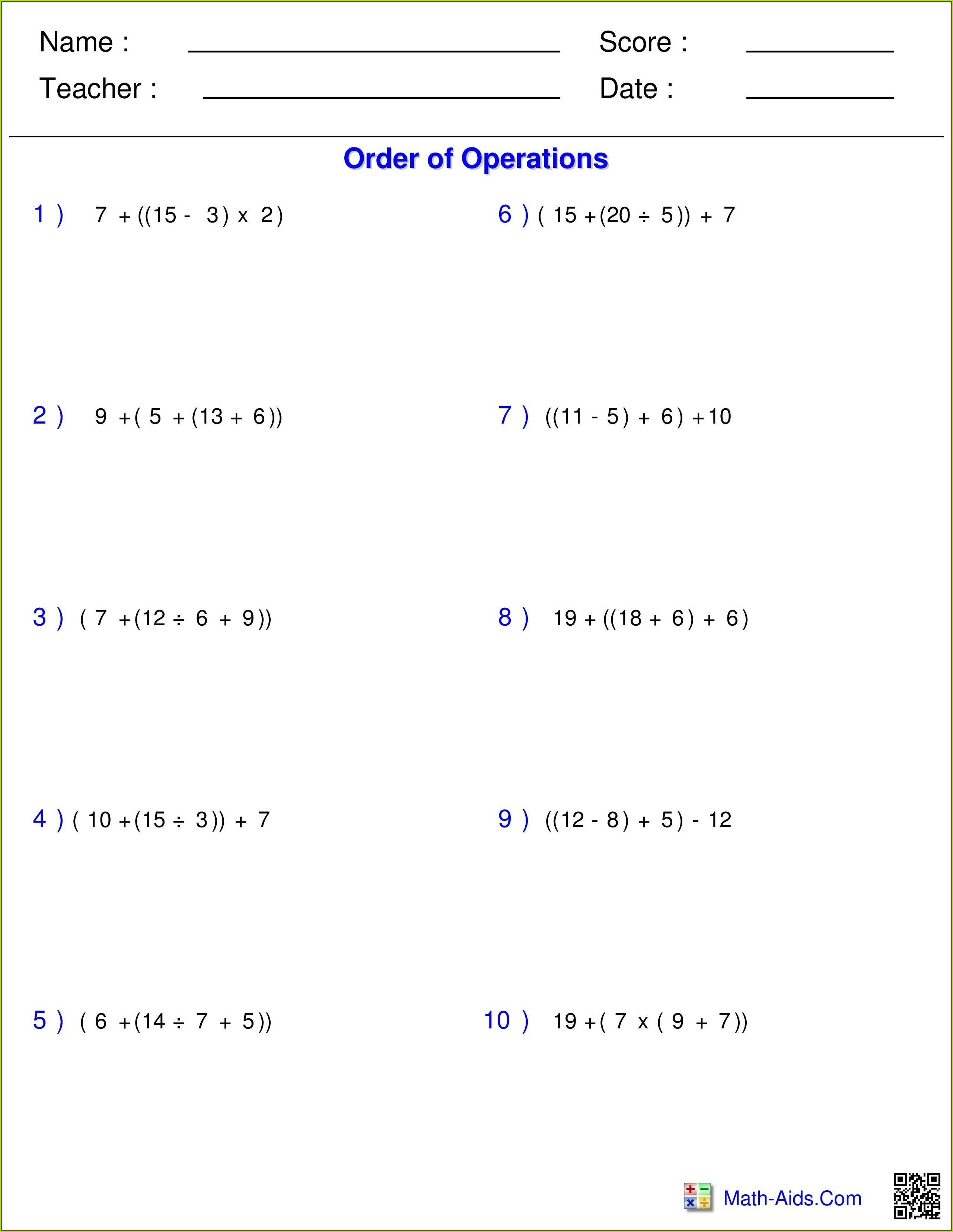5th Grade Order Of Operations With Fractions Worksheet