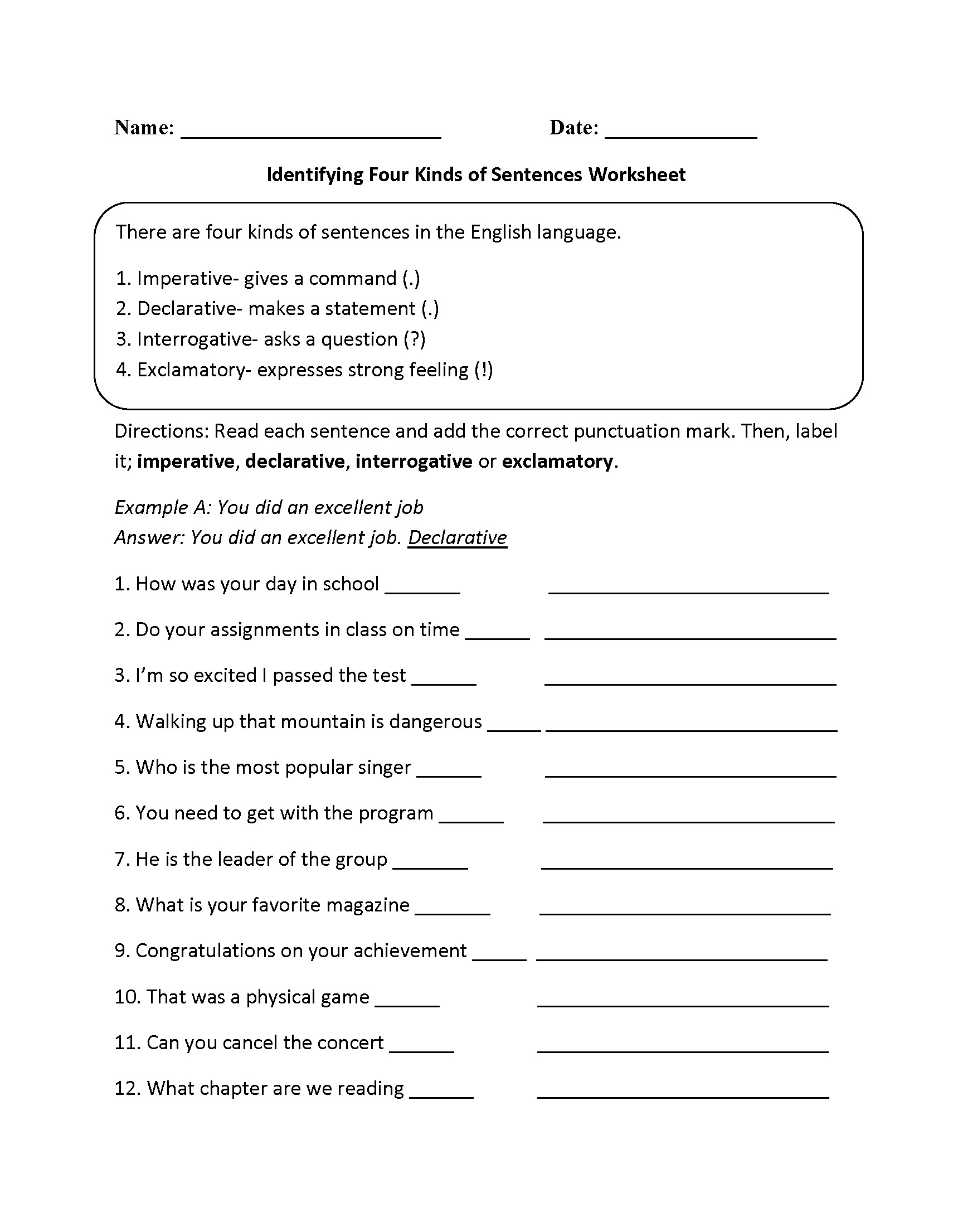 5th Grade Writing Complete Sentences Worksheets