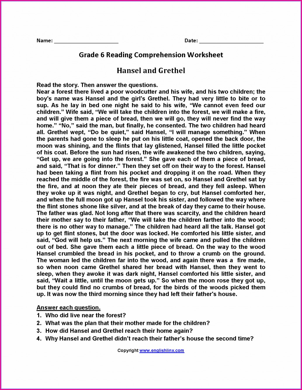 6th Grade English Worksheets With Answers Pdf