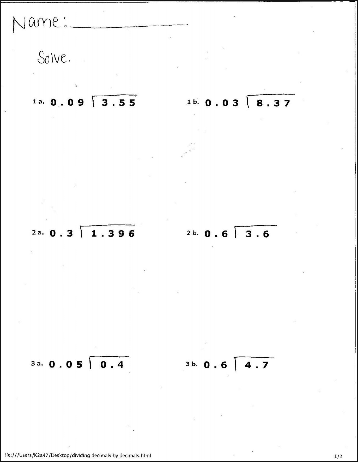 6th Grade Fraction To Decimal Worksheet