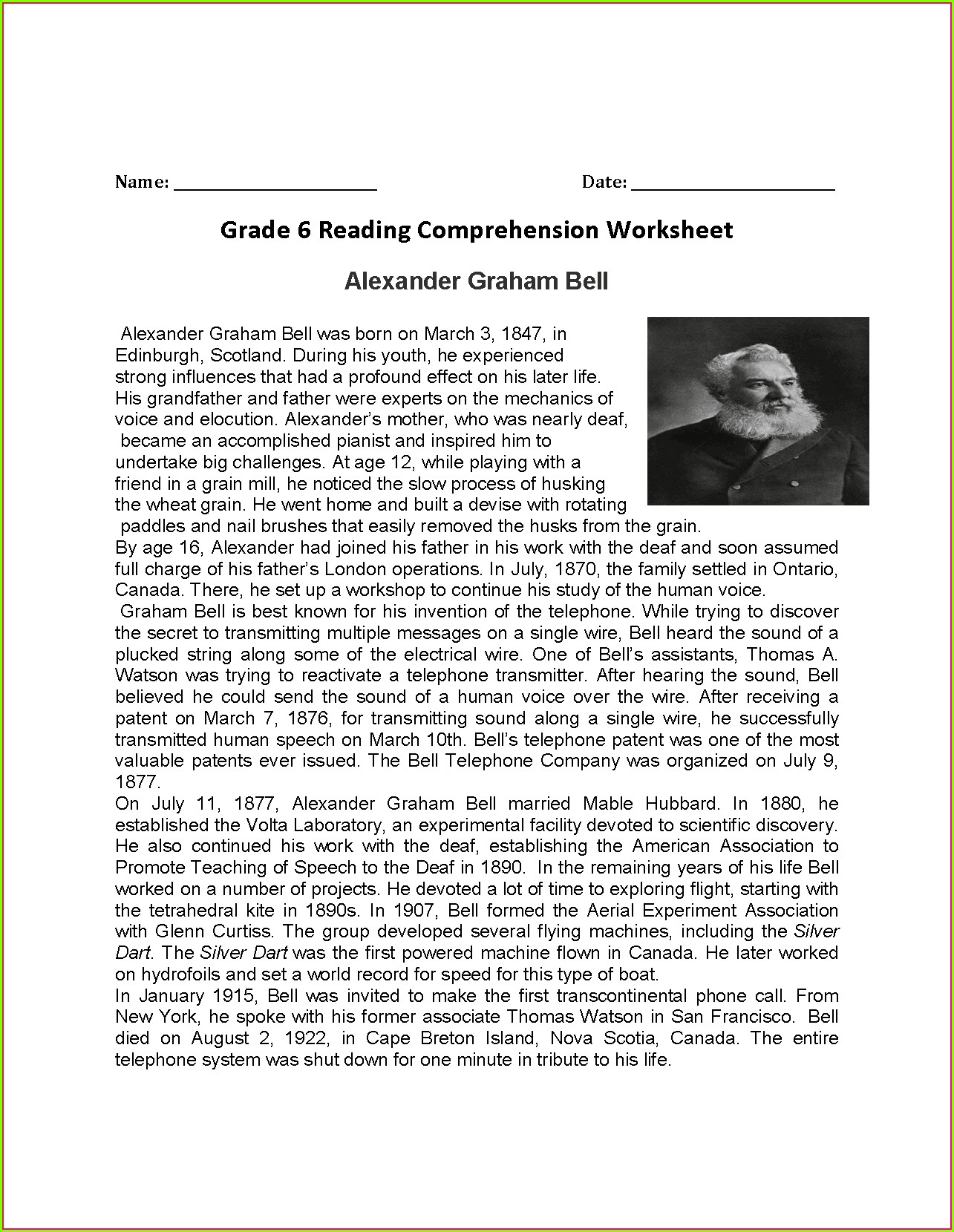 6th Grade Reading Worksheets Pdf