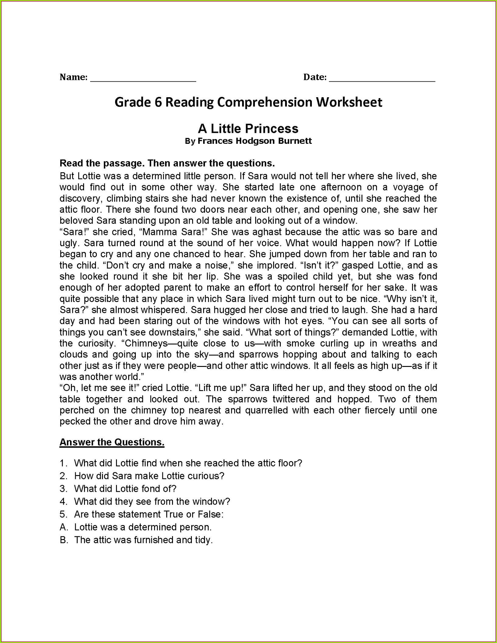 6th Grade Reading Worksheets
