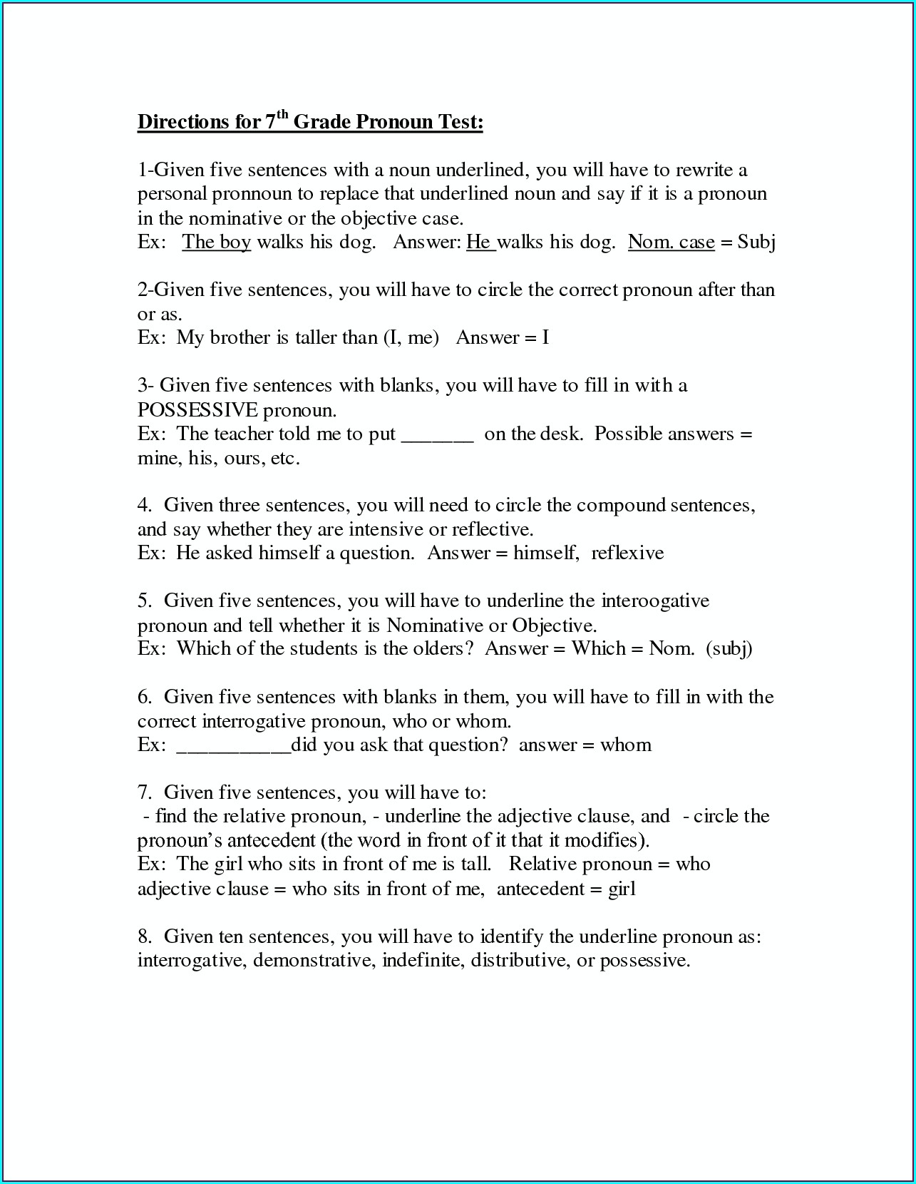 7th Grade English Worksheet For Grade 7