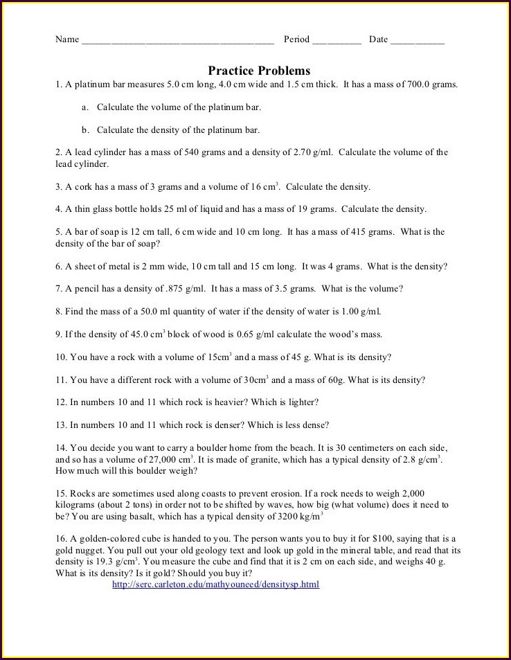 8th Grade Density Practice Problem Worksheet Answers