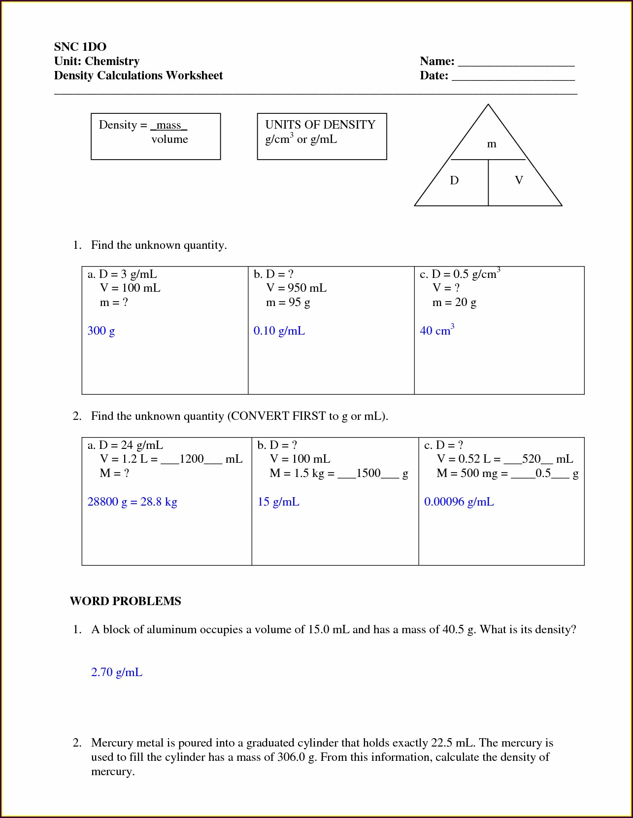 8th Grade Density Problems Worksheet