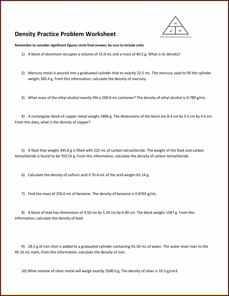 8th Grade Science Density Worksheet Answers
