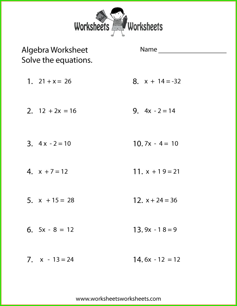 9th Grade Math Worksheets Algebra 1