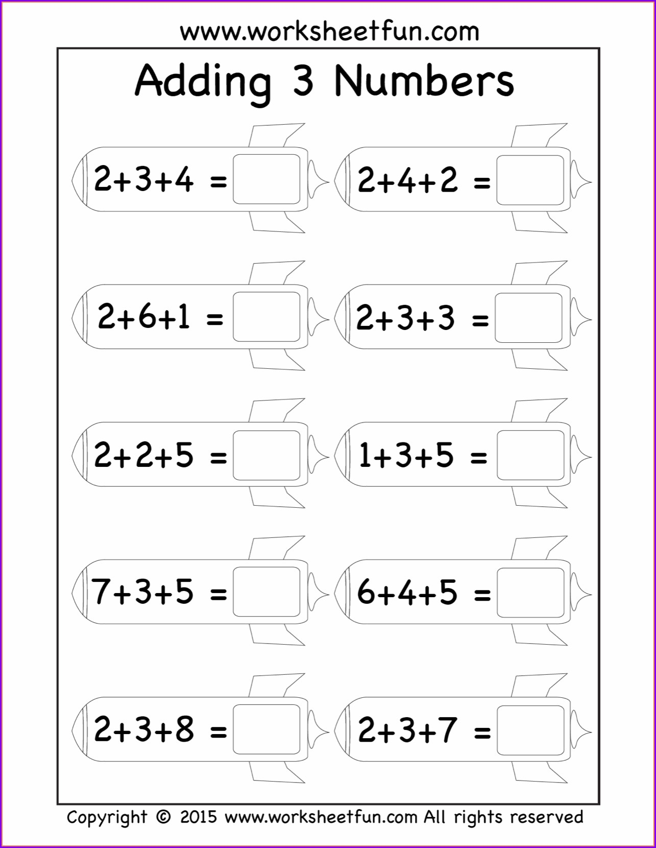 Adding 3 Numbers Worksheet For First Grade