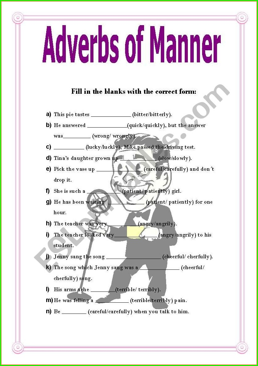 Adverbs Of Manner Worksheets Grade 2