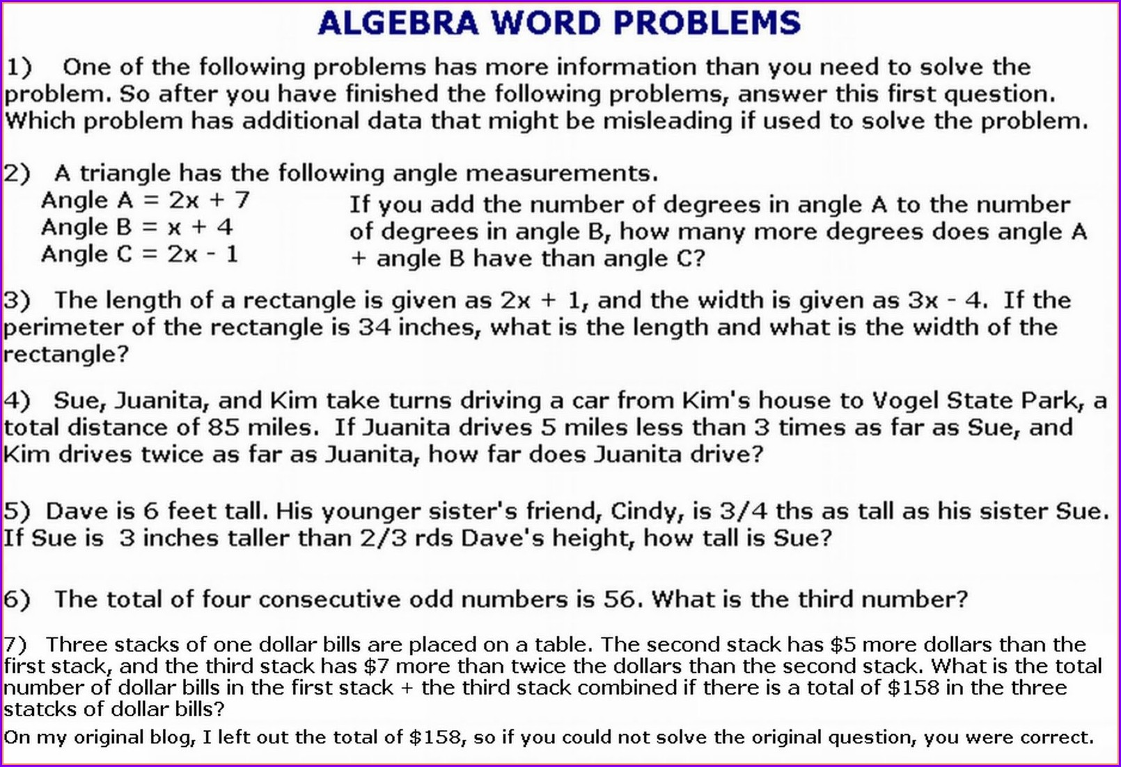 Algebra Word Problems Worksheet And Answers