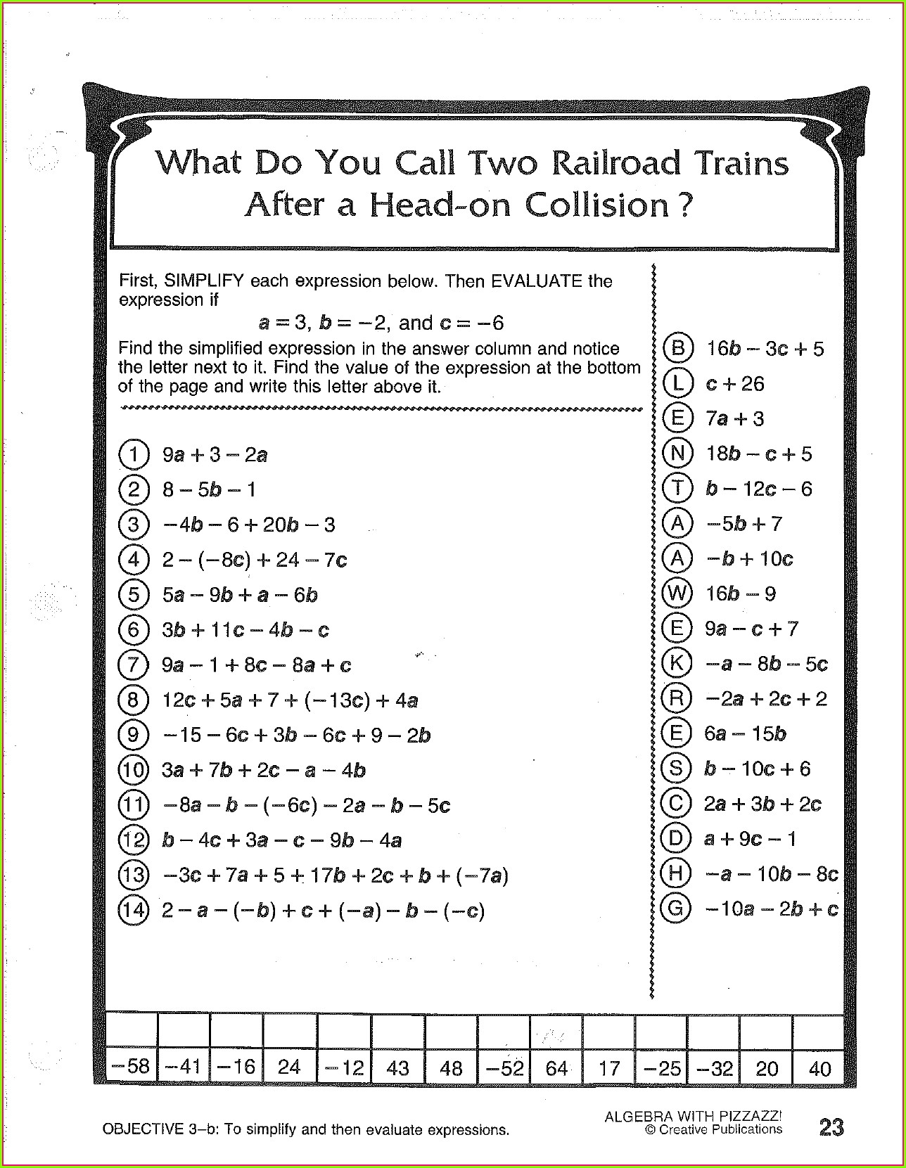 Algebra Worksheet 25 Answer Key