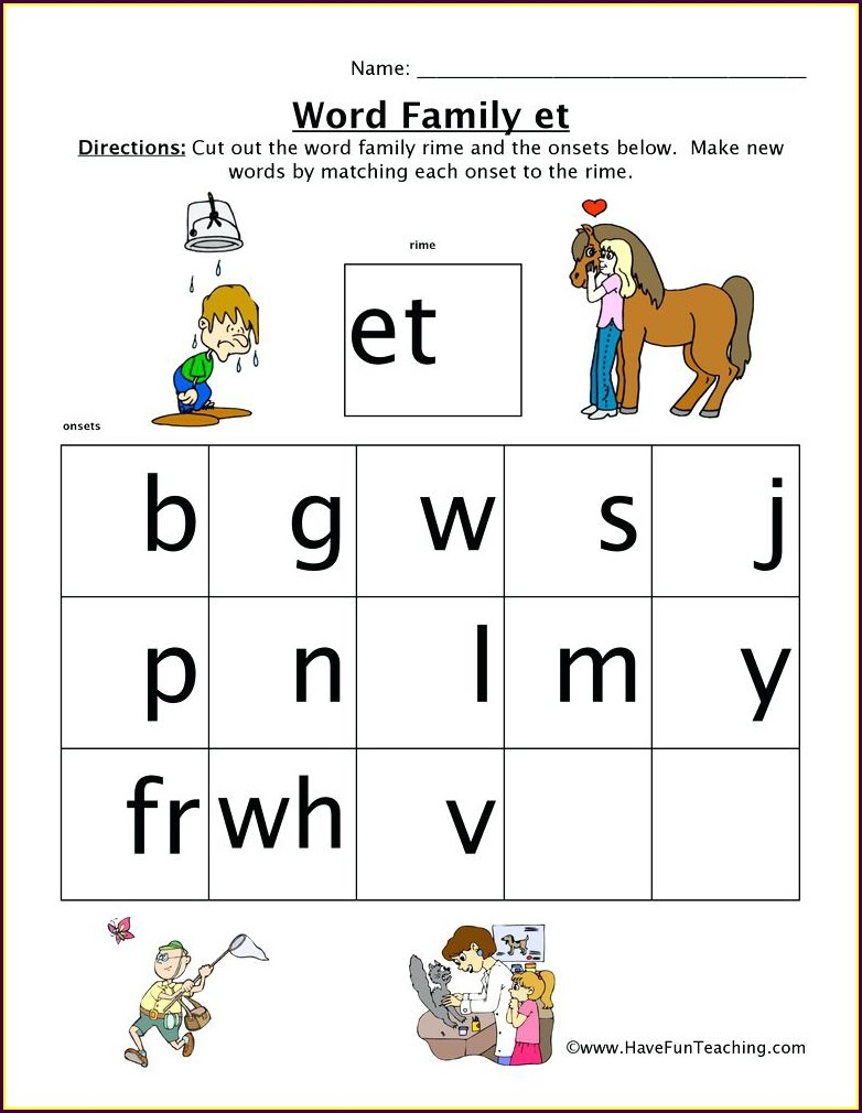 Am Word Family Worksheet