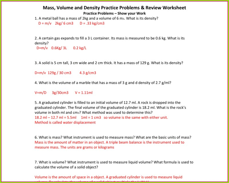 Answer Key Density Word Problems Worksheet Answers