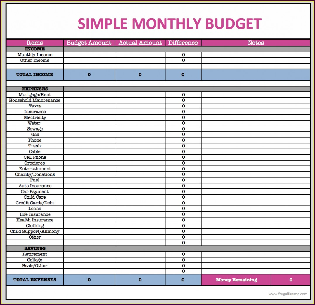 Basic Budget Worksheet Canada