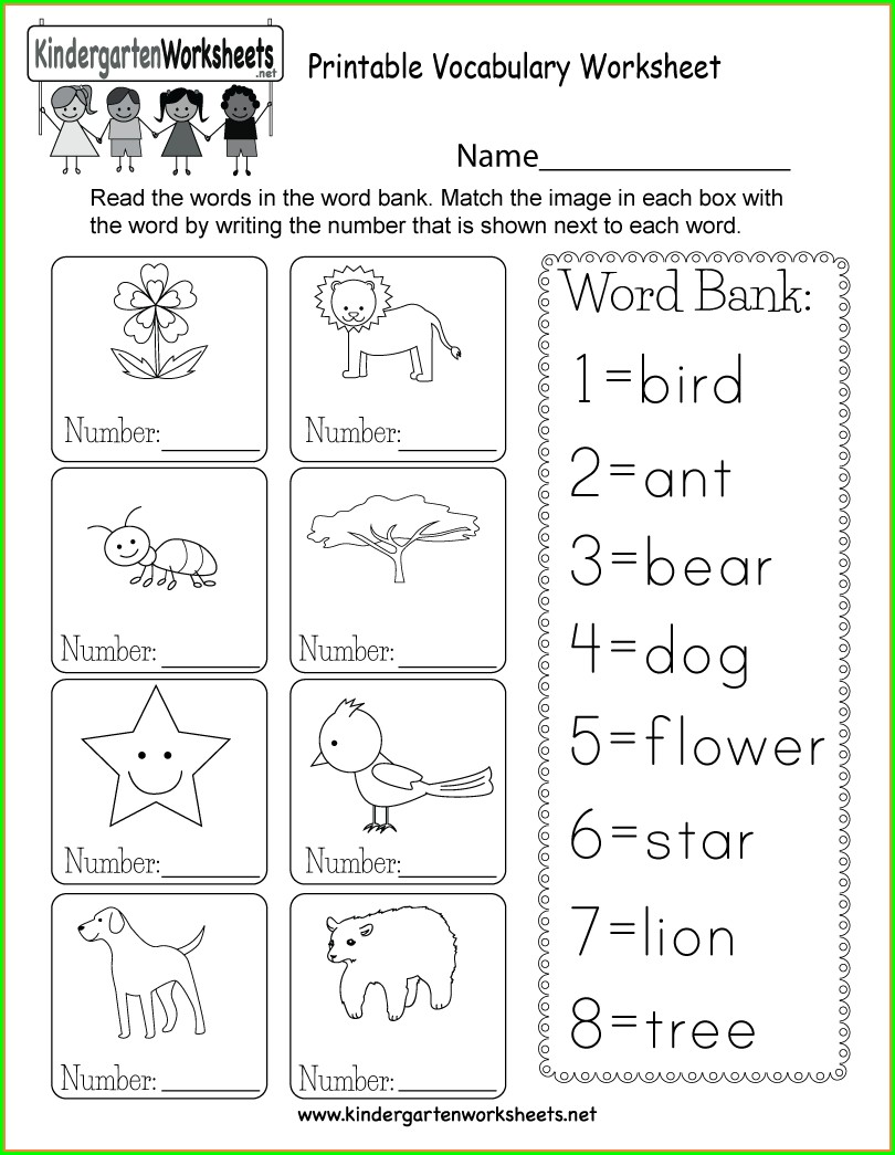 Beginner Kindergarten English Worksheets Pdf