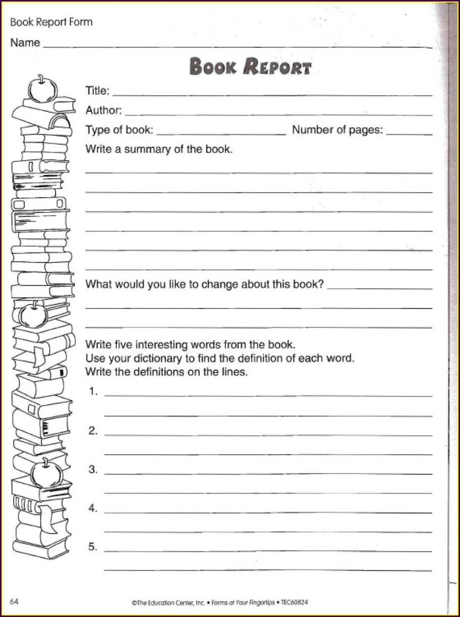 Book Review Worksheet 2nd Grade
