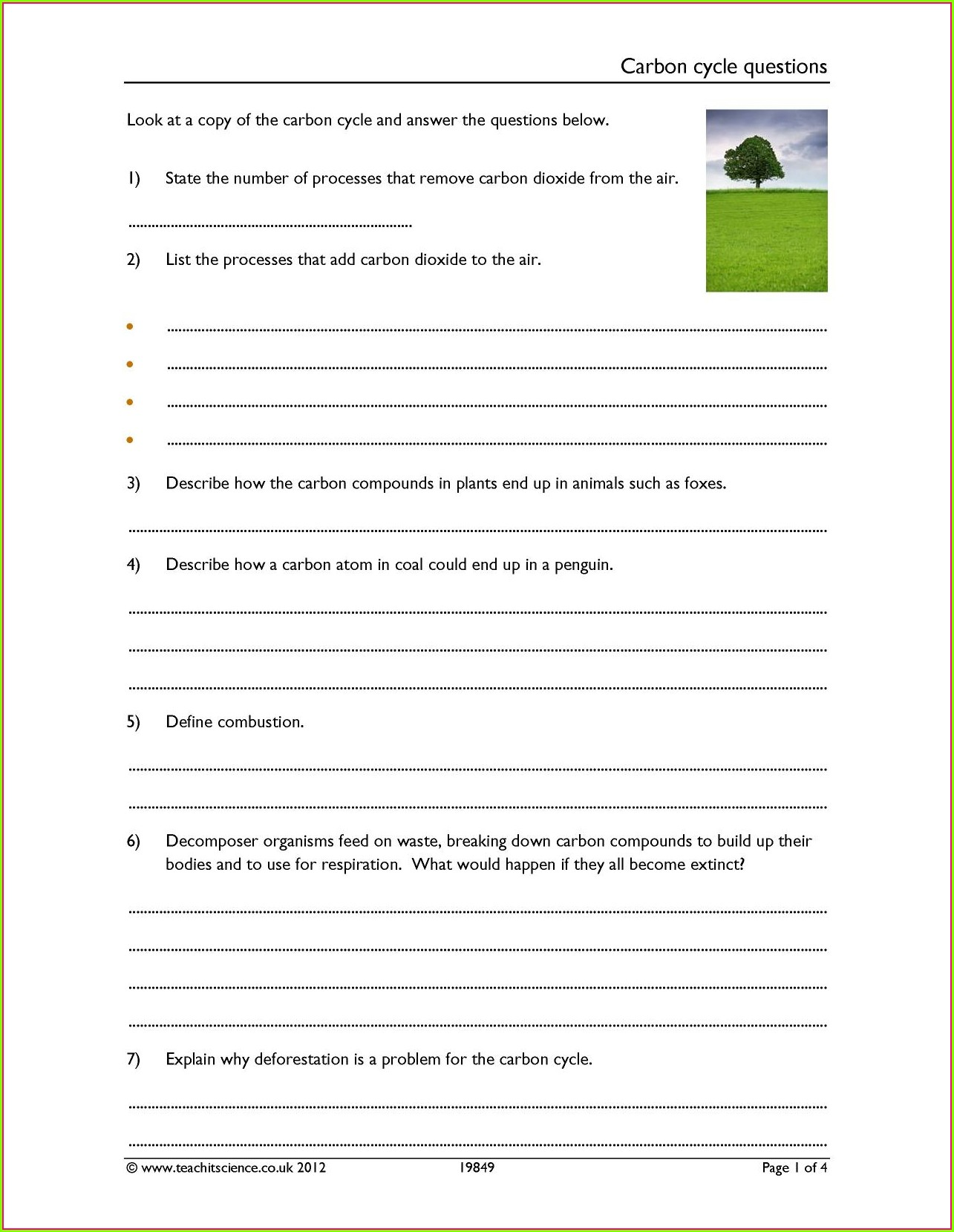 Carbon Cycle Worksheet Pdf