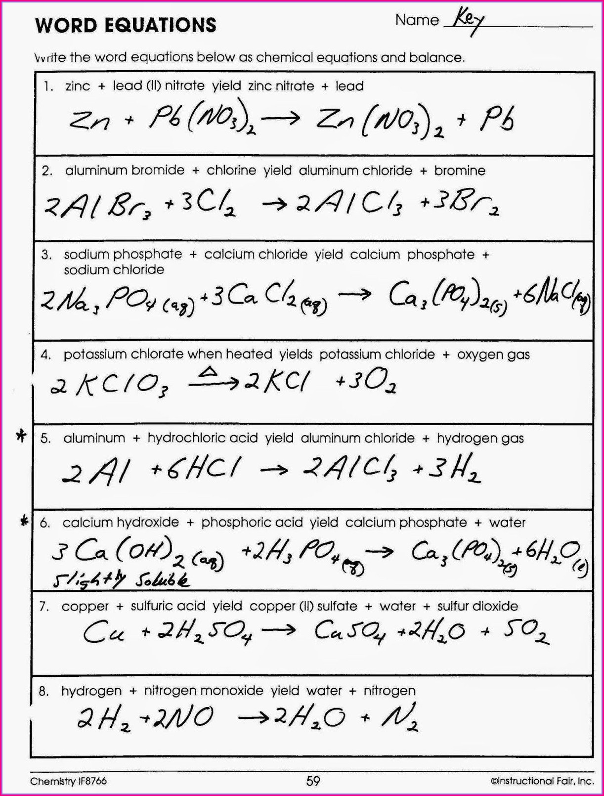 Chemical Word Equations #1 Worksheet Answers
