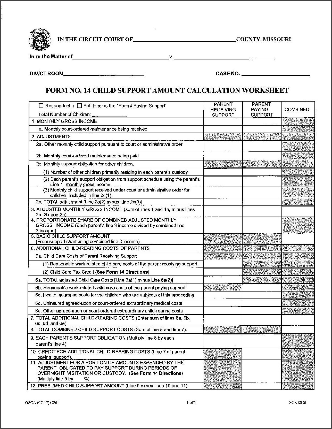 Child Support Worksheet Ct