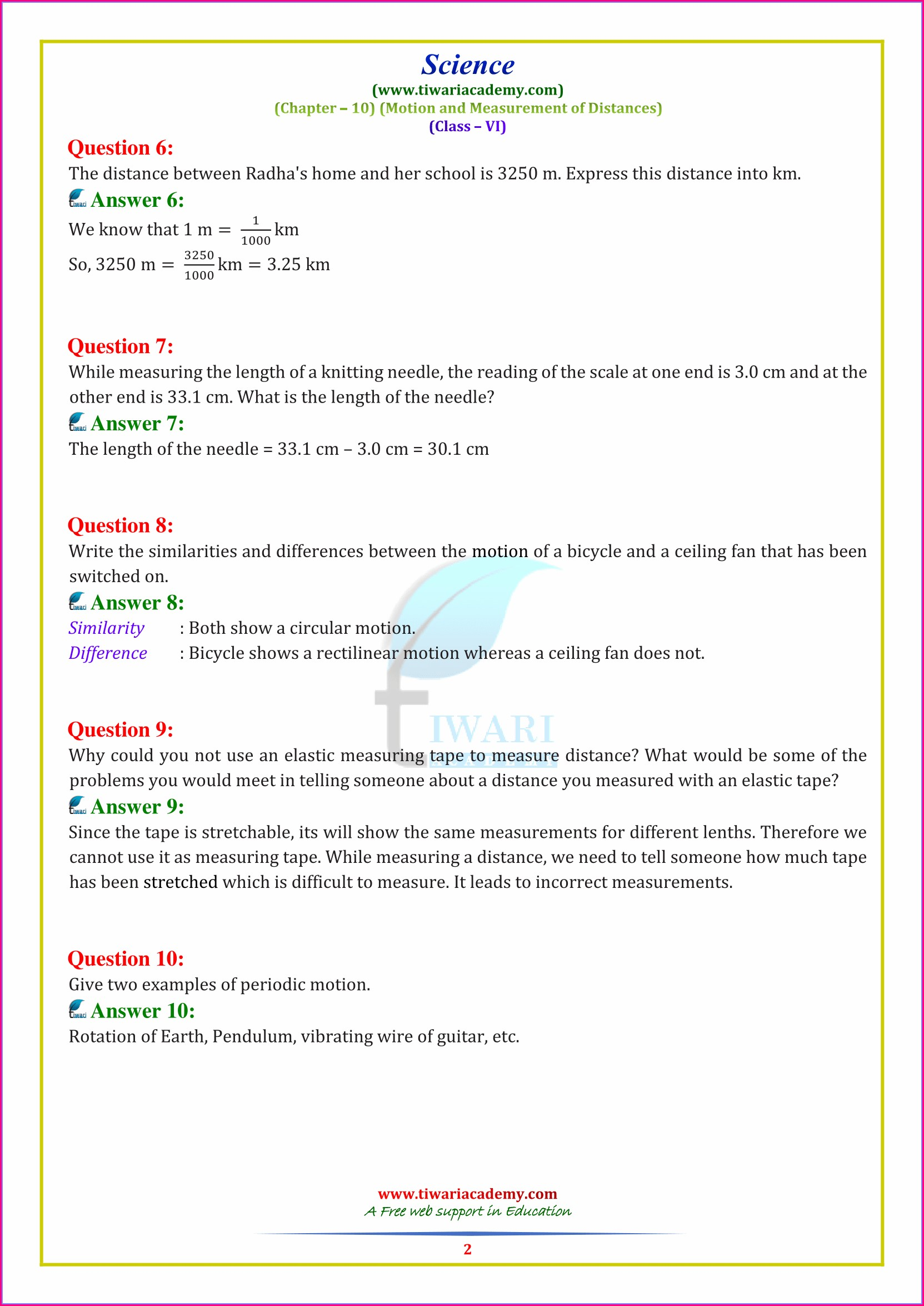 Class 6 Science Chapter 10 Worksheet