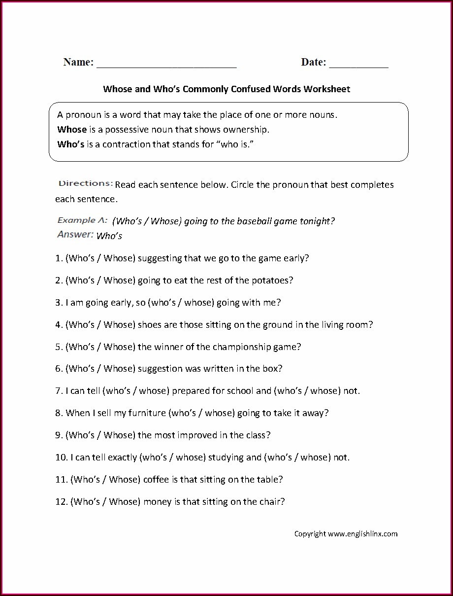 Commonly Confused Words Practice Worksheet Answers