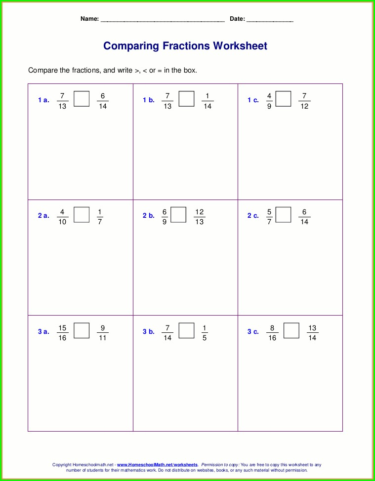 Comparing Mixed Numbers Worksheet 4th Grade