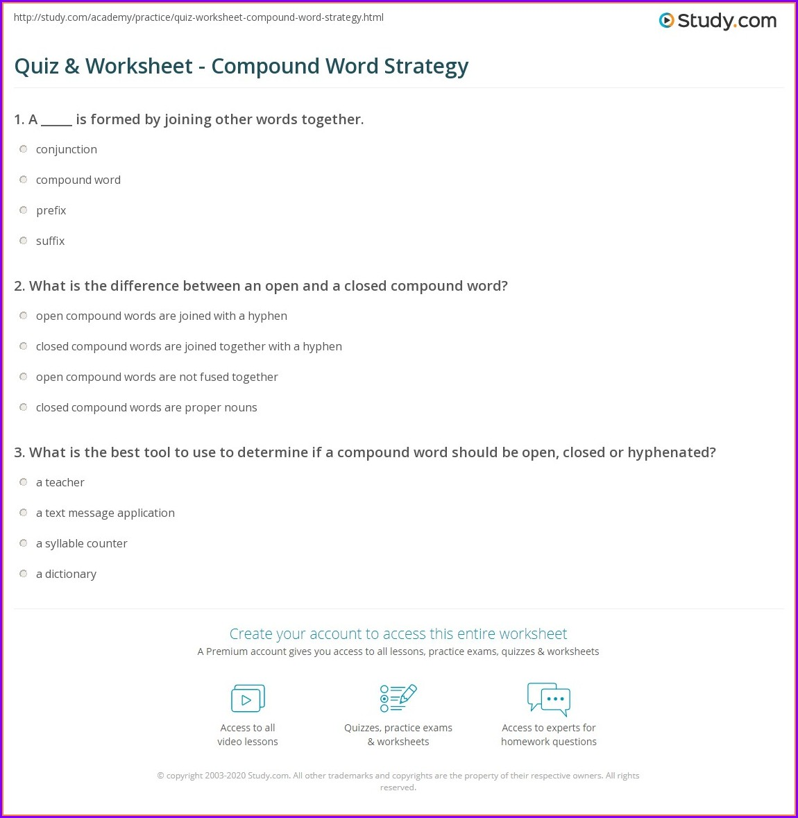 Compound Word Quiz Worksheet