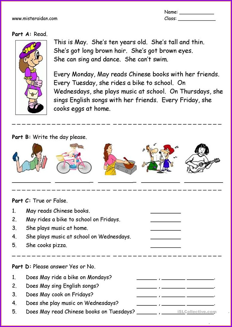 Comprehension Reading Grade 1 English Worksheet