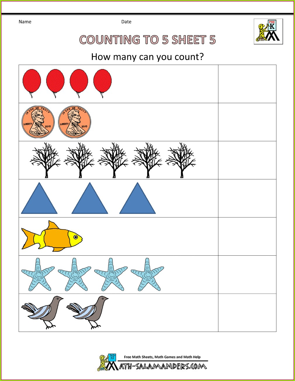 Counting Preschool Math Worksheets