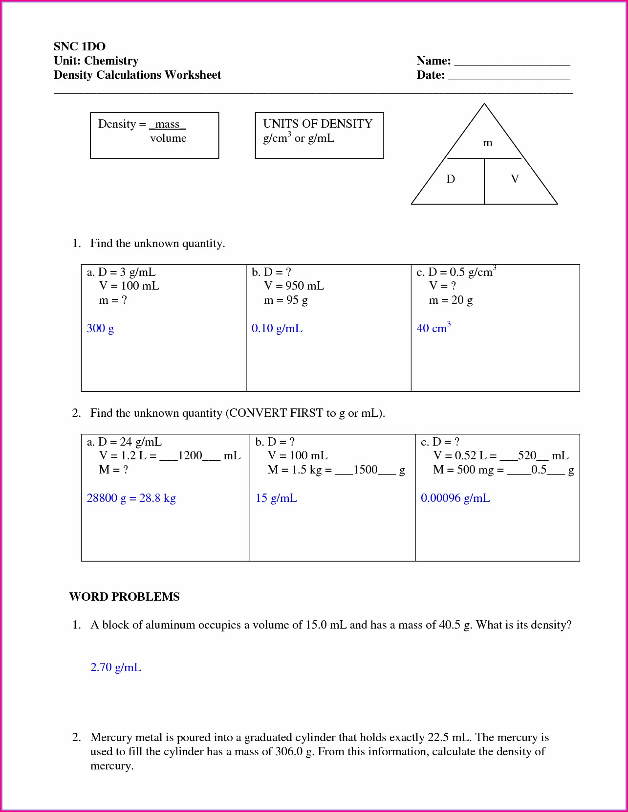 Density Worksheet 5th Grade Pdf