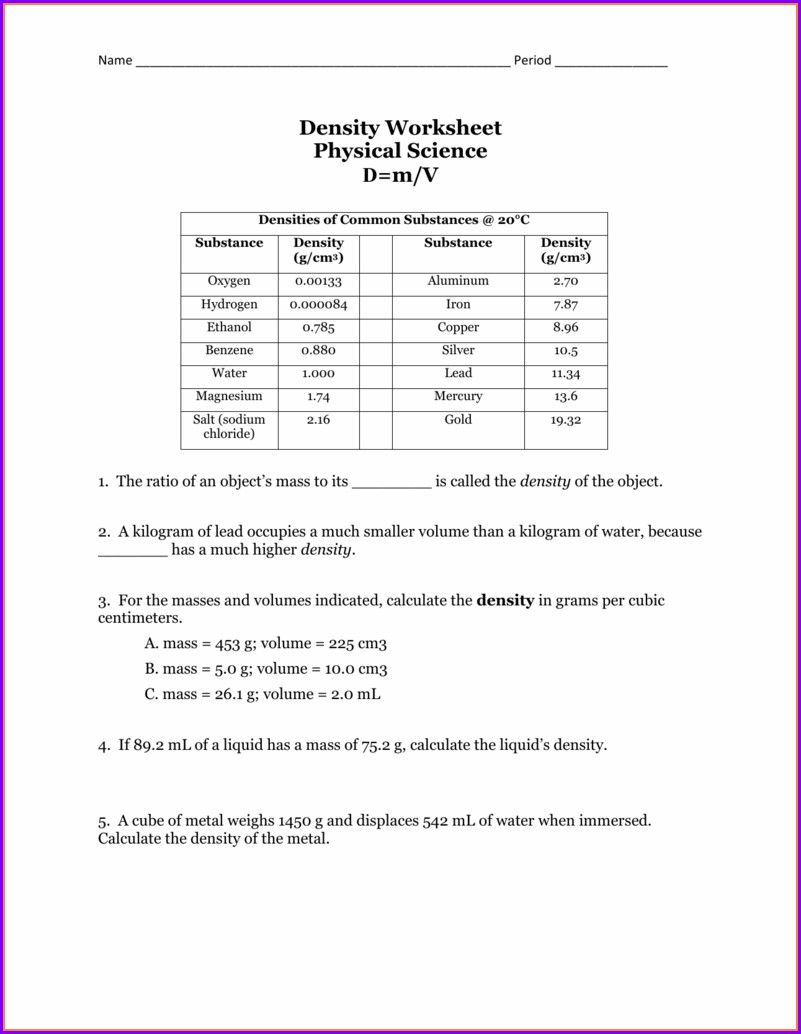 Density Worksheet Density Is The Ratio
