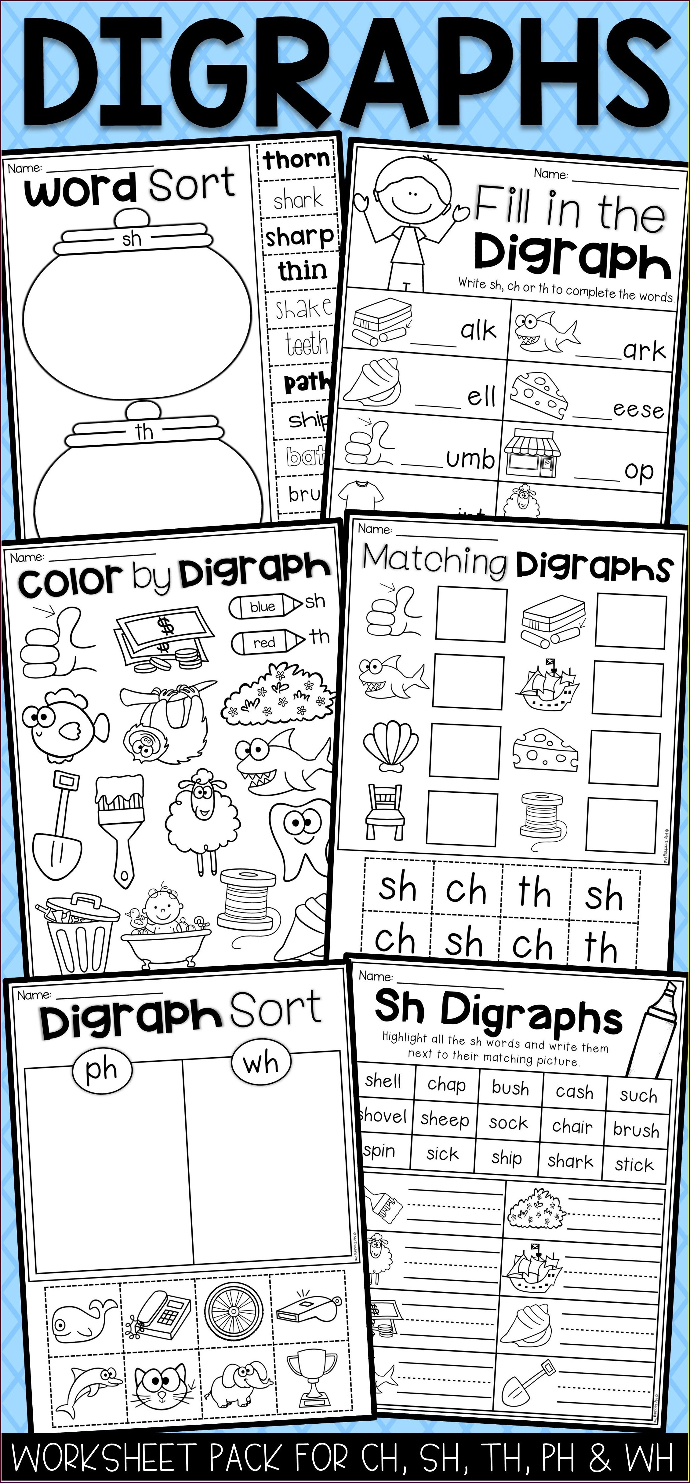 Digraph Worksheets First Grade