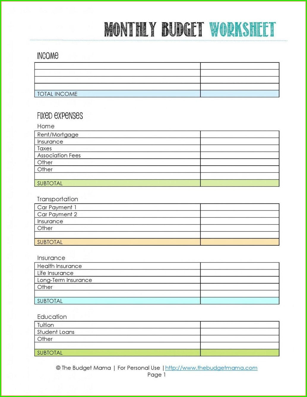 Easy Budget Worksheet For Students