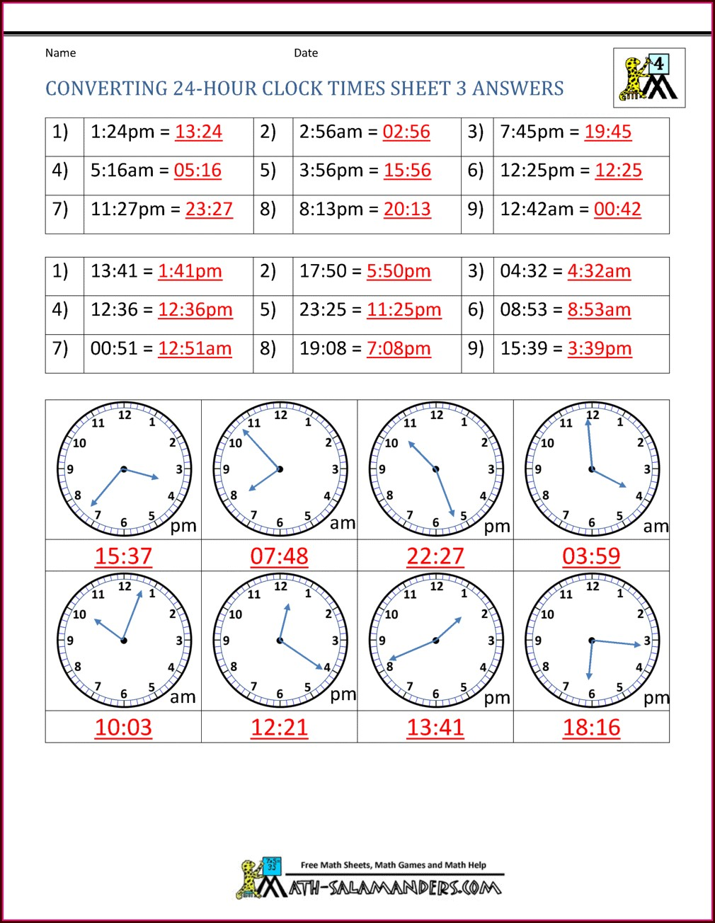 Elapsed Time 24 Hour Clock Worksheets
